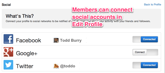 Members can connect to social account in Edit Profile