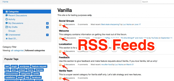 rss feeds categories