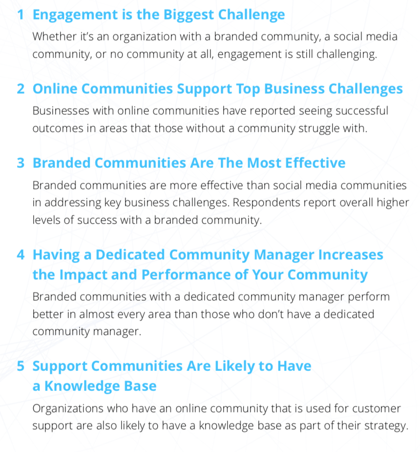 Key findings of research report